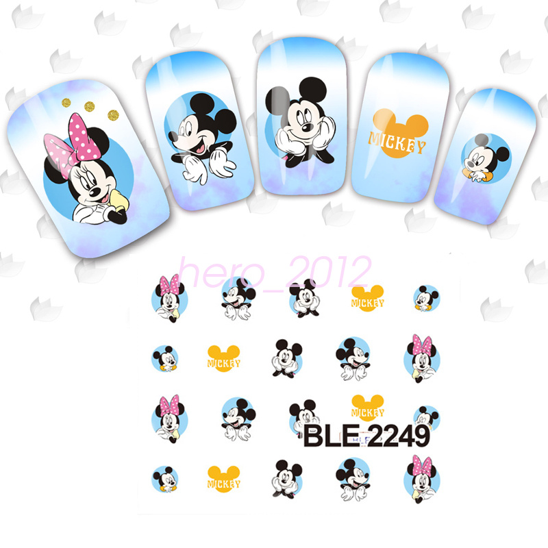 Large 3D Disney Mickey Minnie Mouse Water Transfer Nail Art Sticker ...