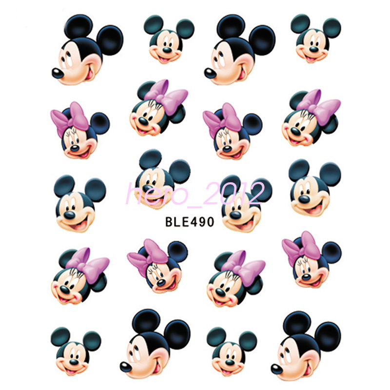 11 sheets disney decals princess mickey mouse nail art tips sticker decoration ebay. Black Bedroom Furniture Sets. Home Design Ideas