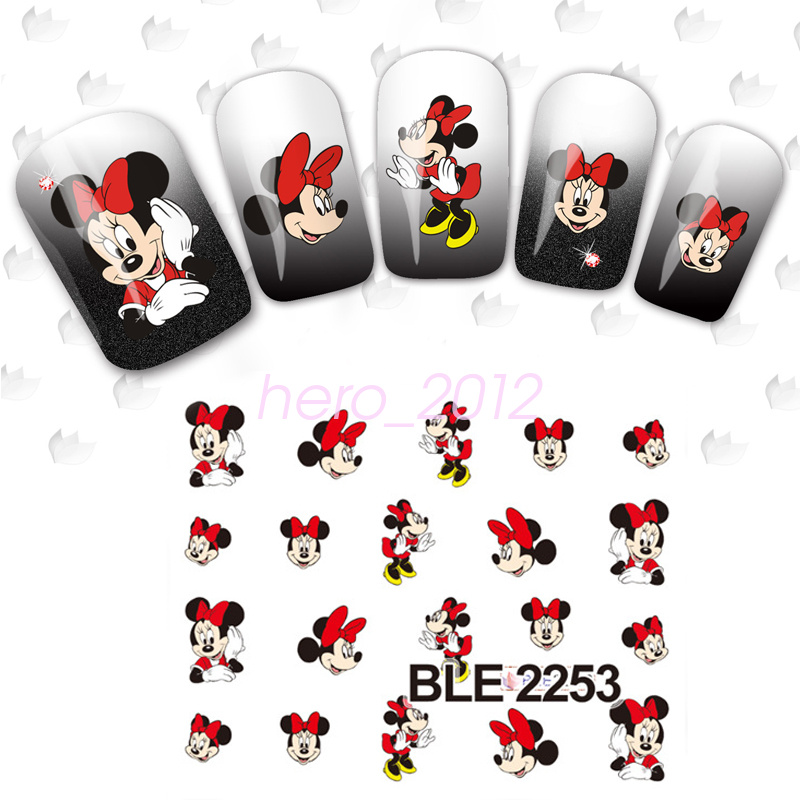 Large 3D Disney Mickey Minnie Mouse Water Transfer Nail