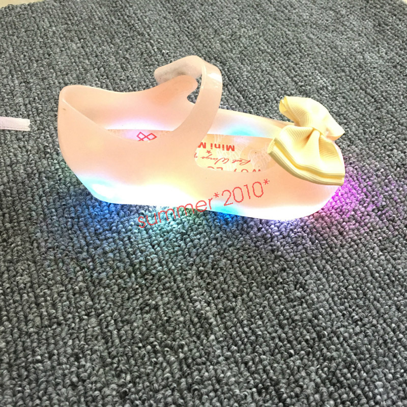 Cute Led Lighting Bow Princess Minnie Sandals Jelly Shoes