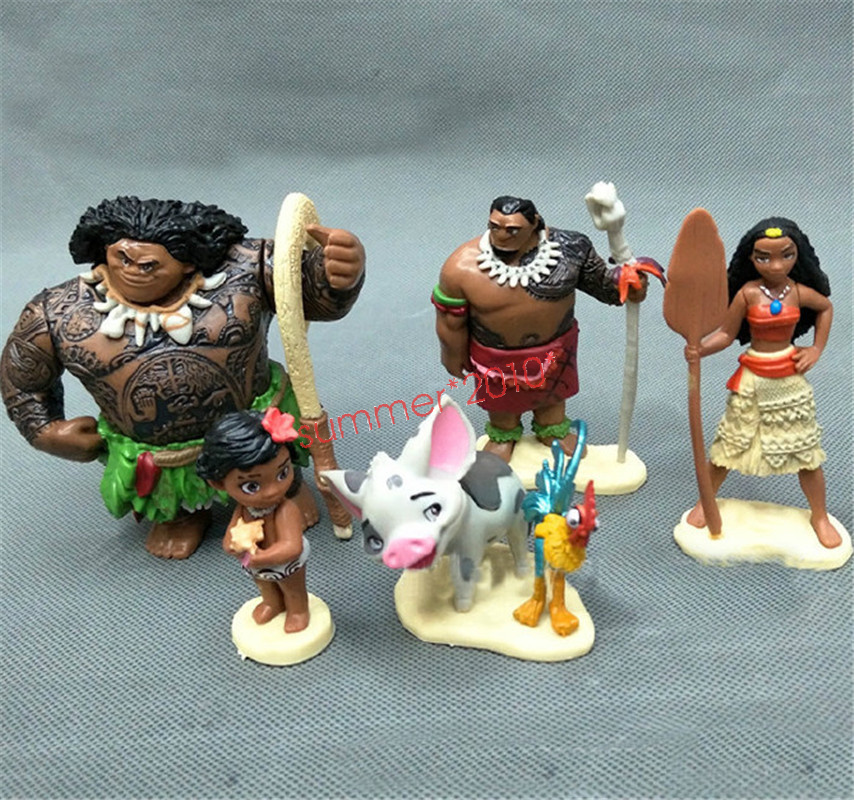 6 Pcs Set Moana Action Figures Doll Kids Figurines Toy ...