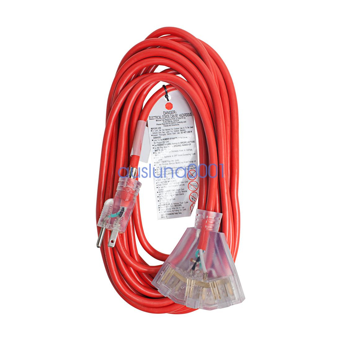 Power Extension Cord Sjtw 12awg To 16awg Lighted Heavy