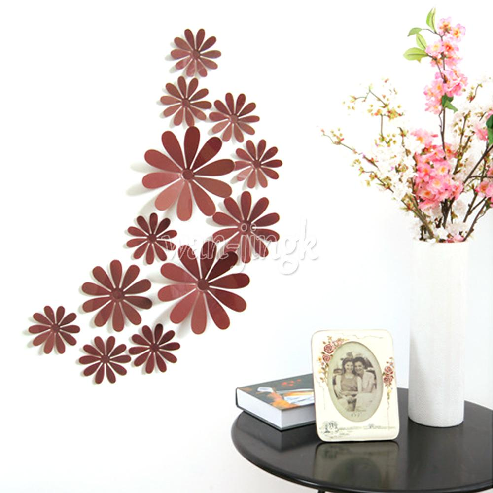 Lot 12pcs 3d mirror pvc flower sticker art decal wall home for 3d flowers for wall decoration