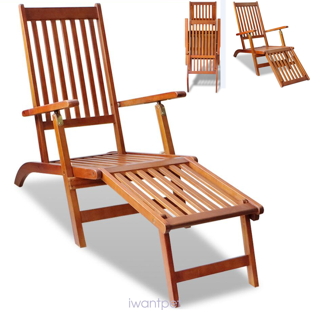 Hardwood folding steamer chair sun lounger chaise longue for Amazon chaise longue