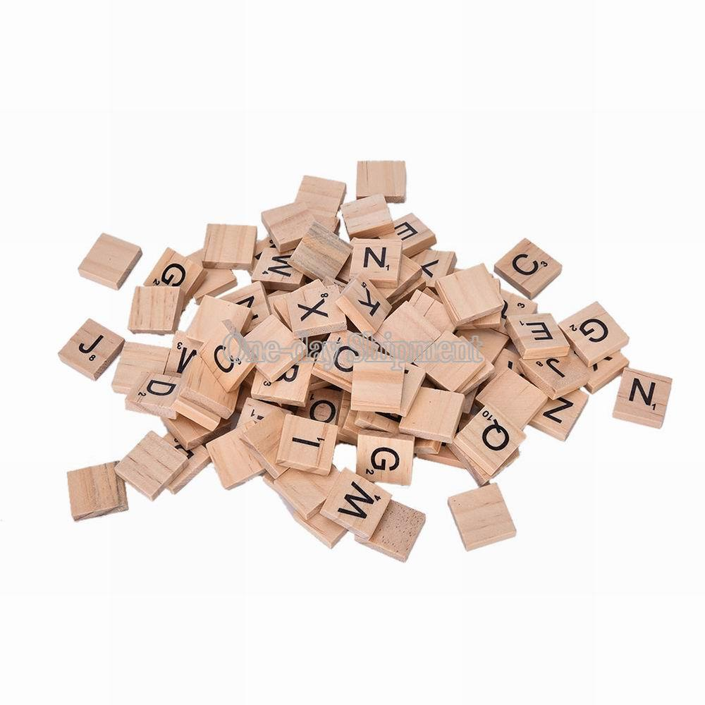 Scrabble tiles x 100 500 wooden black letter wood craft for Wooden letters for crafts