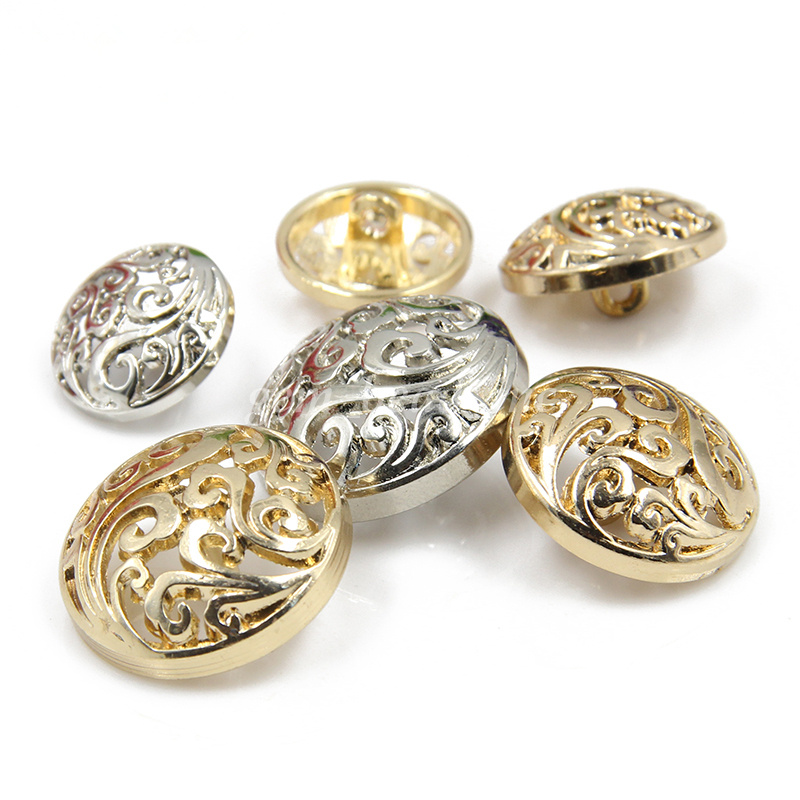 467ea080d9 5Pcs Metal Round Hollow Shank Buttons Gold Silver Plated DIY Sewing ...
