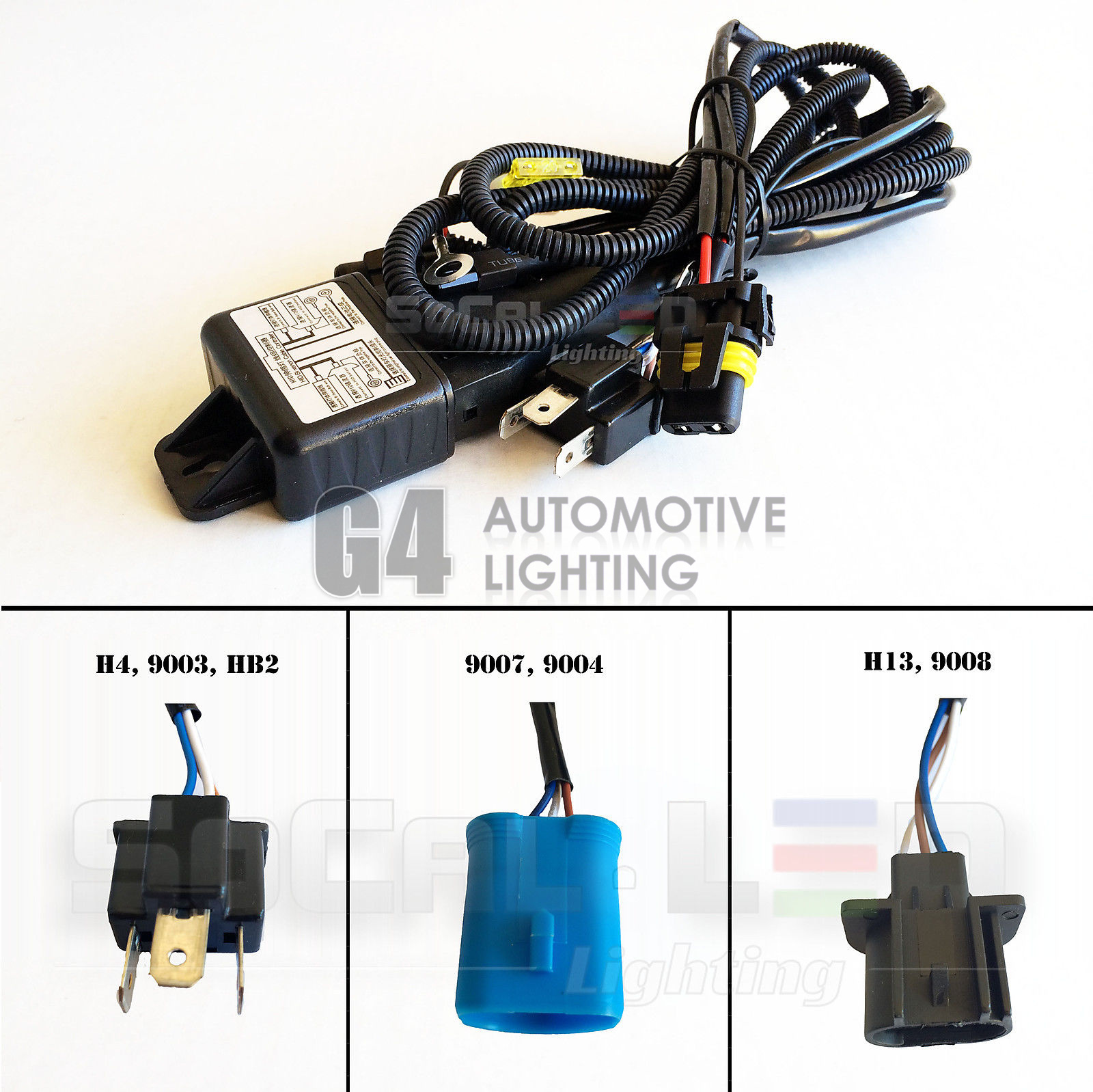 Set of 12v 35w55w hid hilo hl bi xenon relay harness wiring set of 12v 35w55w hid hilo hl bi xenon relay harness wiring controller wfuse sciox Images