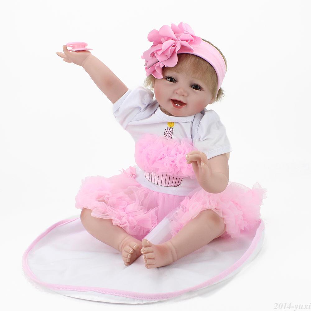 "Handmade Lifelike Baby Girl Doll 22"" Silicone Vinyl Reborn ..."