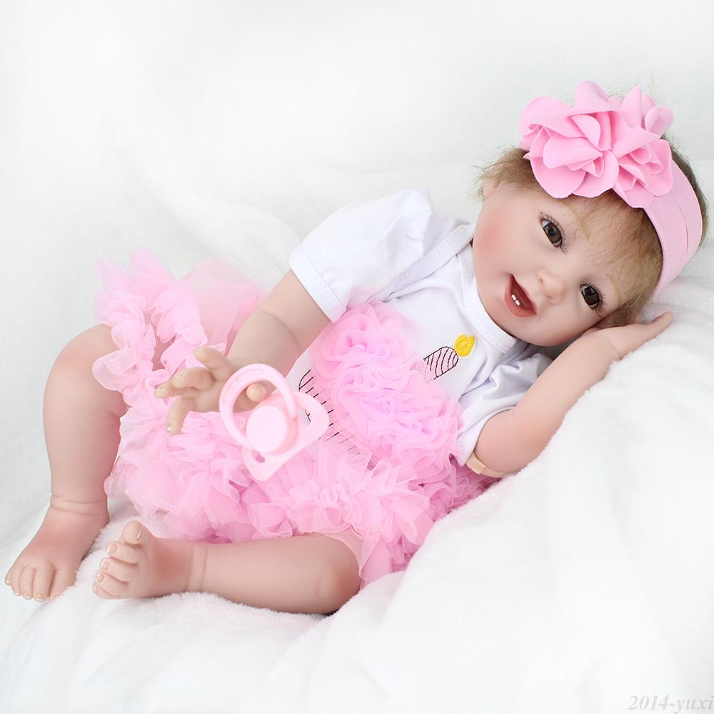 handmade lifelike baby girl doll 22 silicone vinyl reborn newborn dolls clothes auctions buy. Black Bedroom Furniture Sets. Home Design Ideas