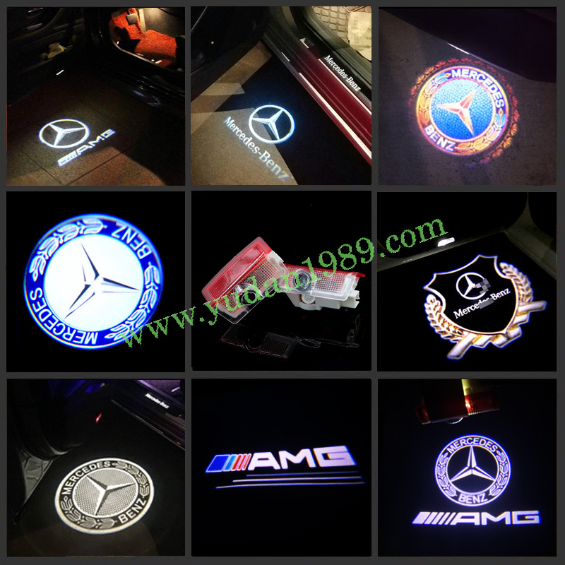 For 4 W204 blue ZTMYZFSL 4 Pcs Car Logo Projection LED Projector Door ghost Shadow Light Welcome Lamp Light
