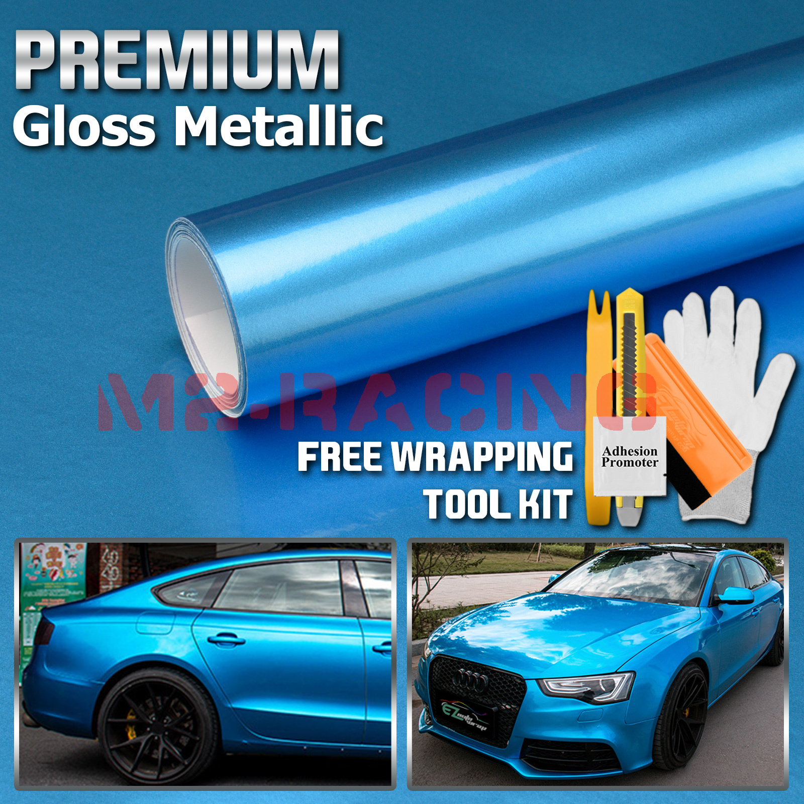 *Premium Sky Blue High Gloss Metallic Glossy Sticker Decal Vinyl Wrap Air Free