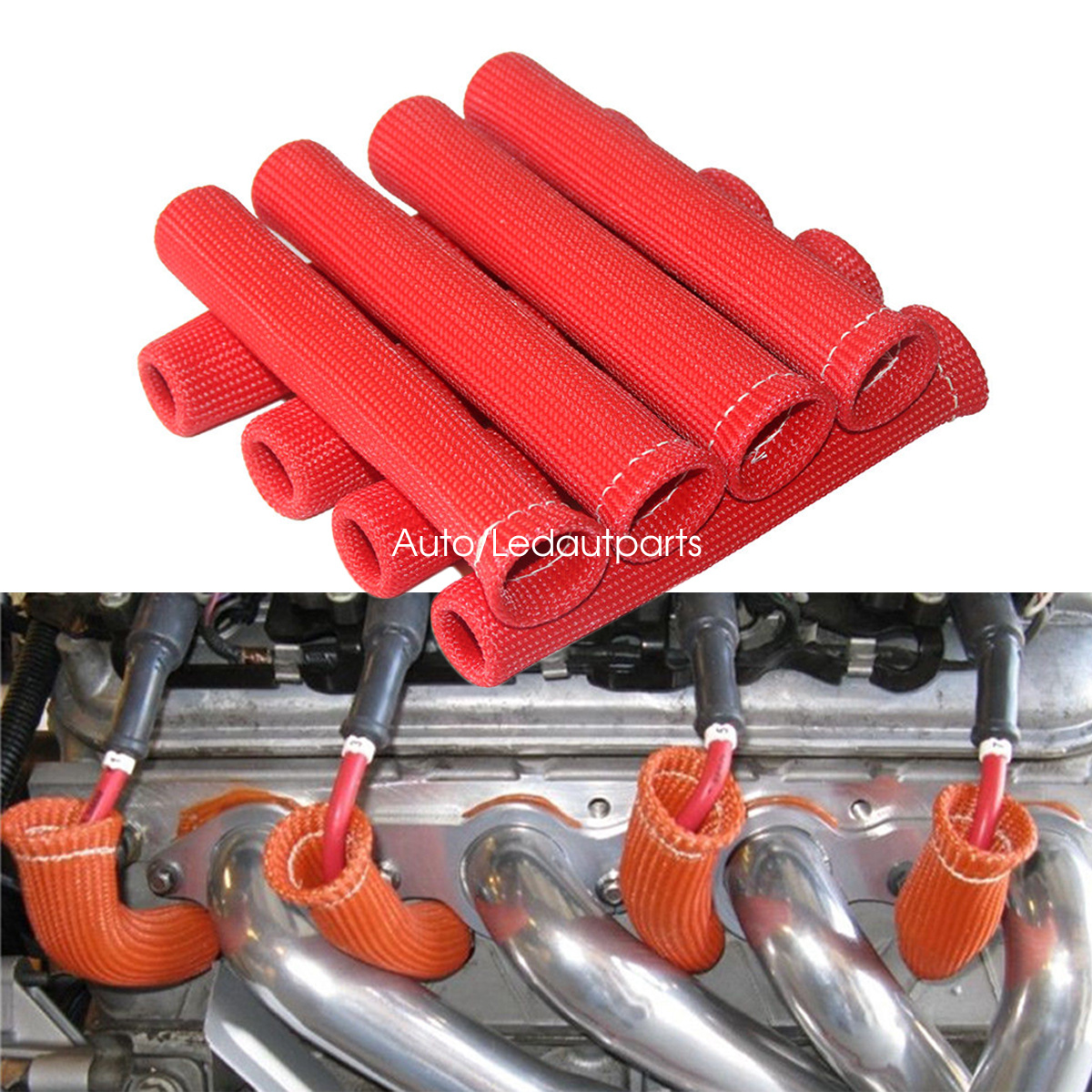 8pcs Red 1200° Ignition Wires Spark Plug Wire Boots Heat Sleeve Shield Protector