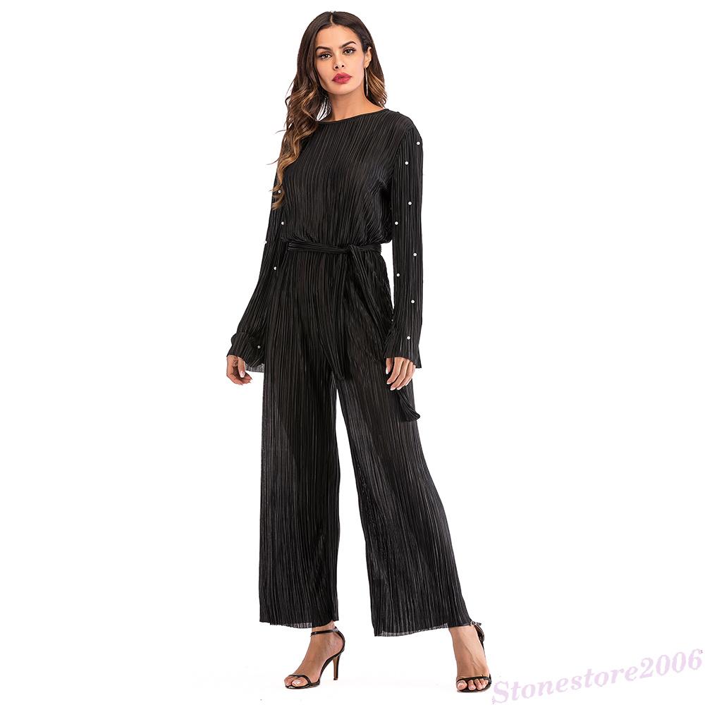 3d45e3dbbb5 Muslim Women Abaya Pleated Jumpsuit Maxi Dress Flare Sleeve Long Robe  Kimono New