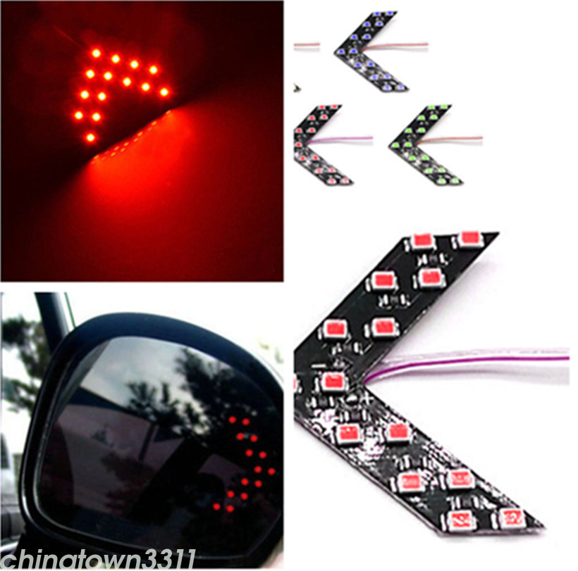 2pcs Red Arrow Indicator 14smd Led Car Side Mirror Turn