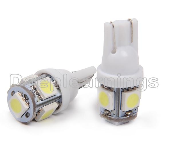 20PCS T10 5050 W5W 5 SMD 12*30m 194 168 LED White Car Side Wedge Tail Light Lamp