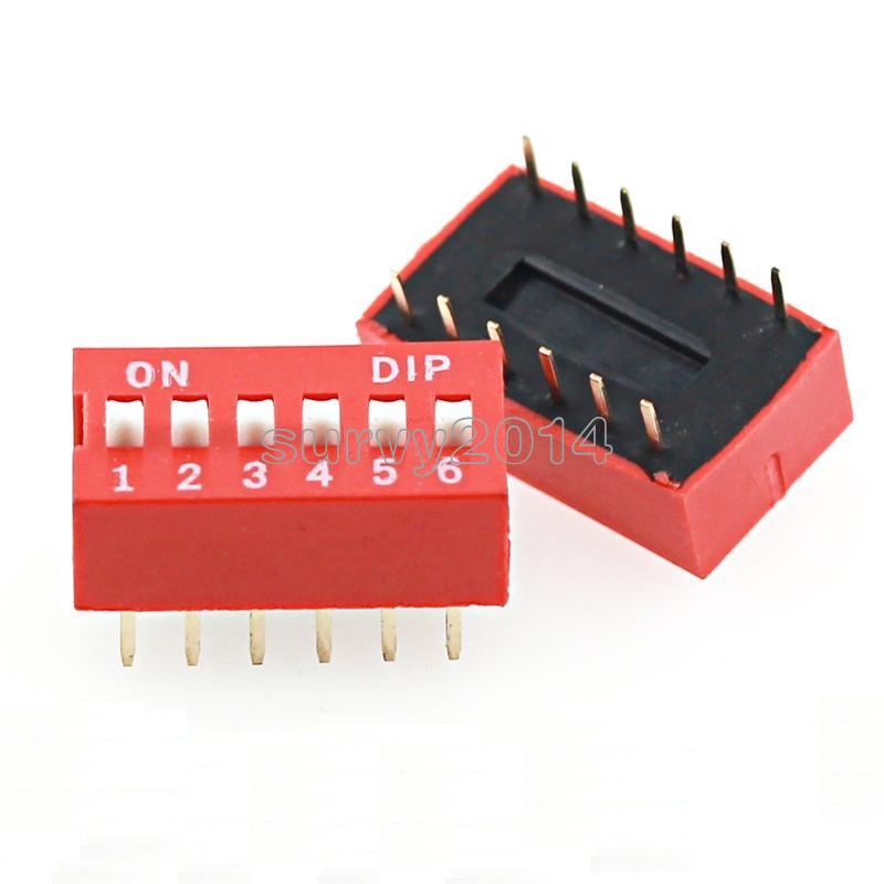 50Pcs Slide Type Switch Module 2.54MM 6-Bit 6 Position Way Dip Pitch no
