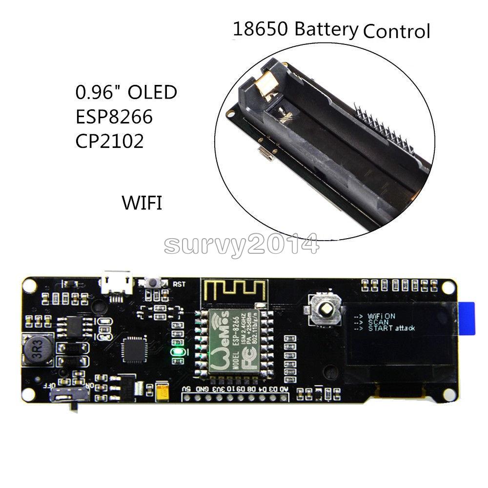 ESP8266 0.96/'/'OLED ESP-12F WIFI Development Board CP2102+Micro USB 18650 Battery