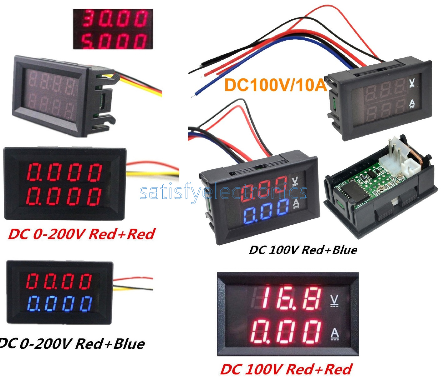 Dc 0 200v 100v 10a 3 4 Bit Voltmeter Ammeter Red Blue Led Wiring And Amp Meter Wires