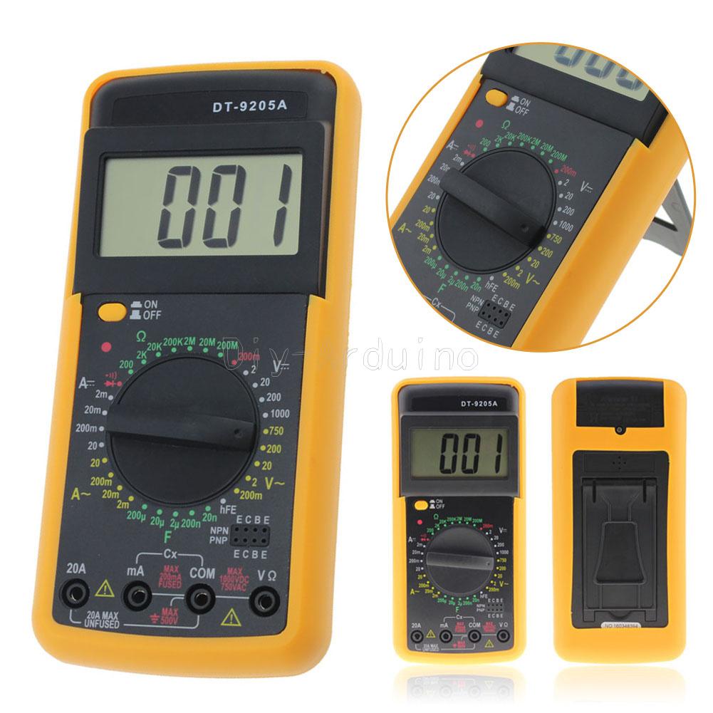 DT9205A Digital Multimeter LCD AC/DC Ammeter Resistance ...