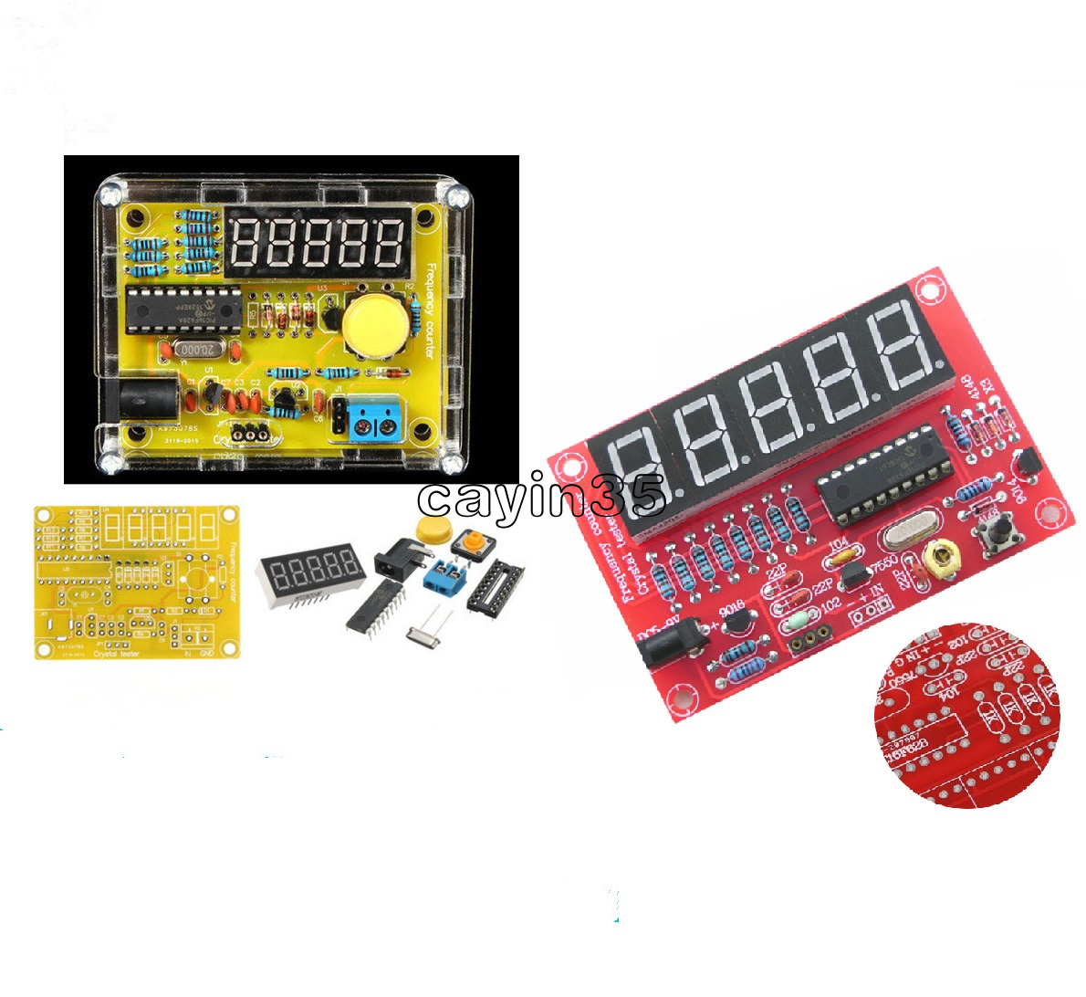 Crystal Oscillator Tester Frequency Counter 1Hz-50MHz DIY Kits Meter w//Case