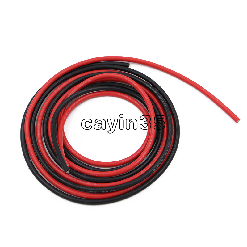 12AWG Silicone Wire Super flexible high temperature 1m Red /& 1m Black UK seller