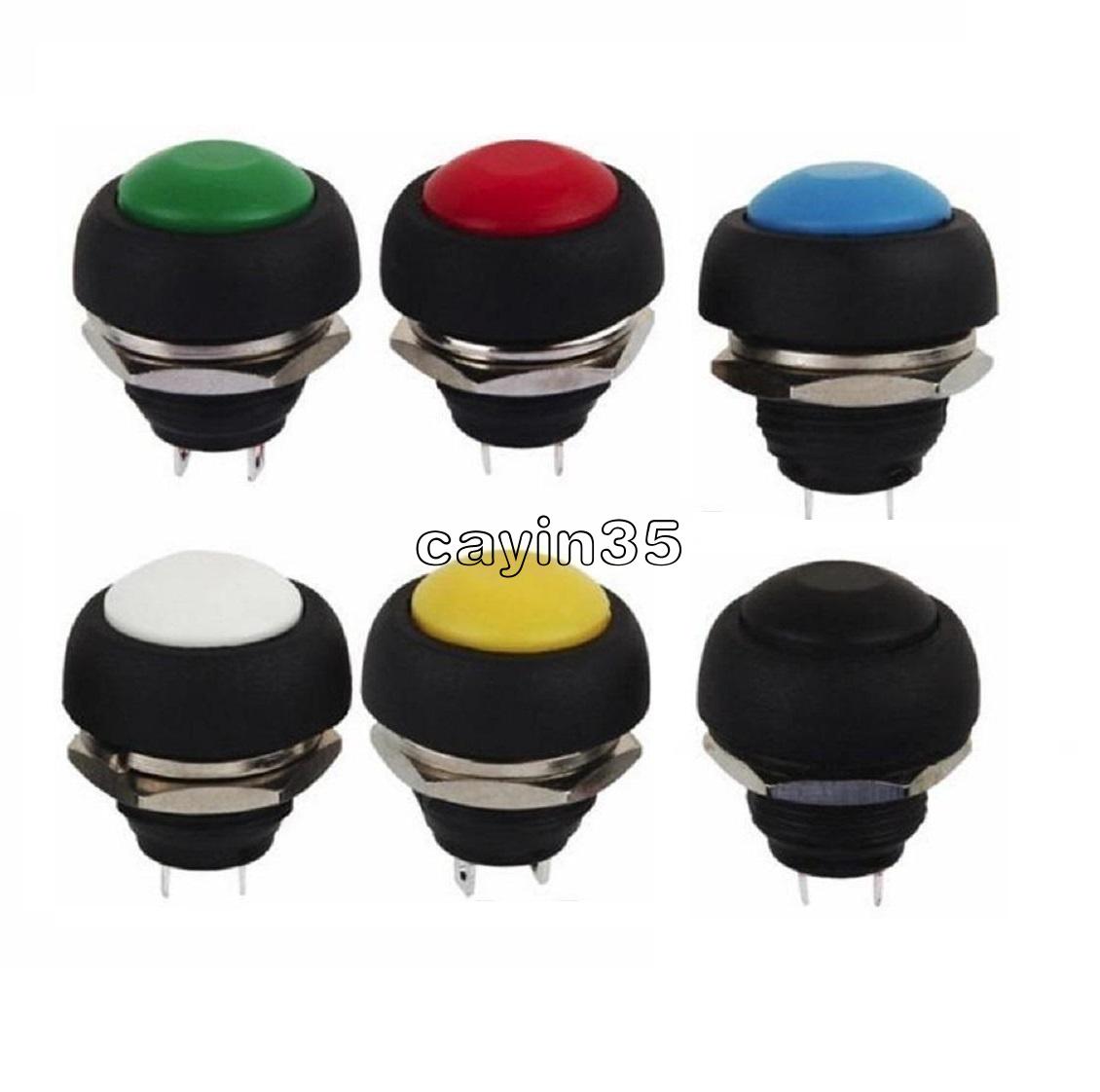 1Pcs Black 12mm Waterproof Momentary ON//OFF Push Button Round Mini K F4U4 I8D4