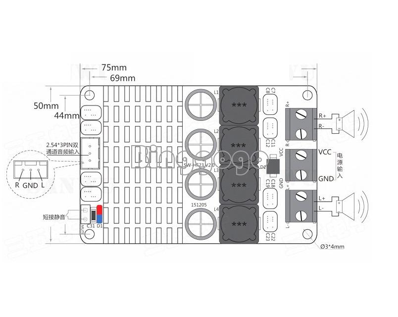 dc 12v 24v tpa3116 dual channel stereo 2x50w btl mono 100w