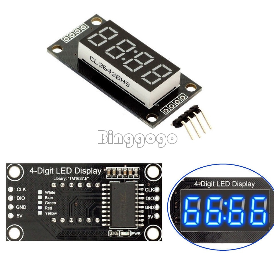 4-Bits Digital 0.56/'/' LED Red Display TM1637 Anzeige Clock Tube For Arduino