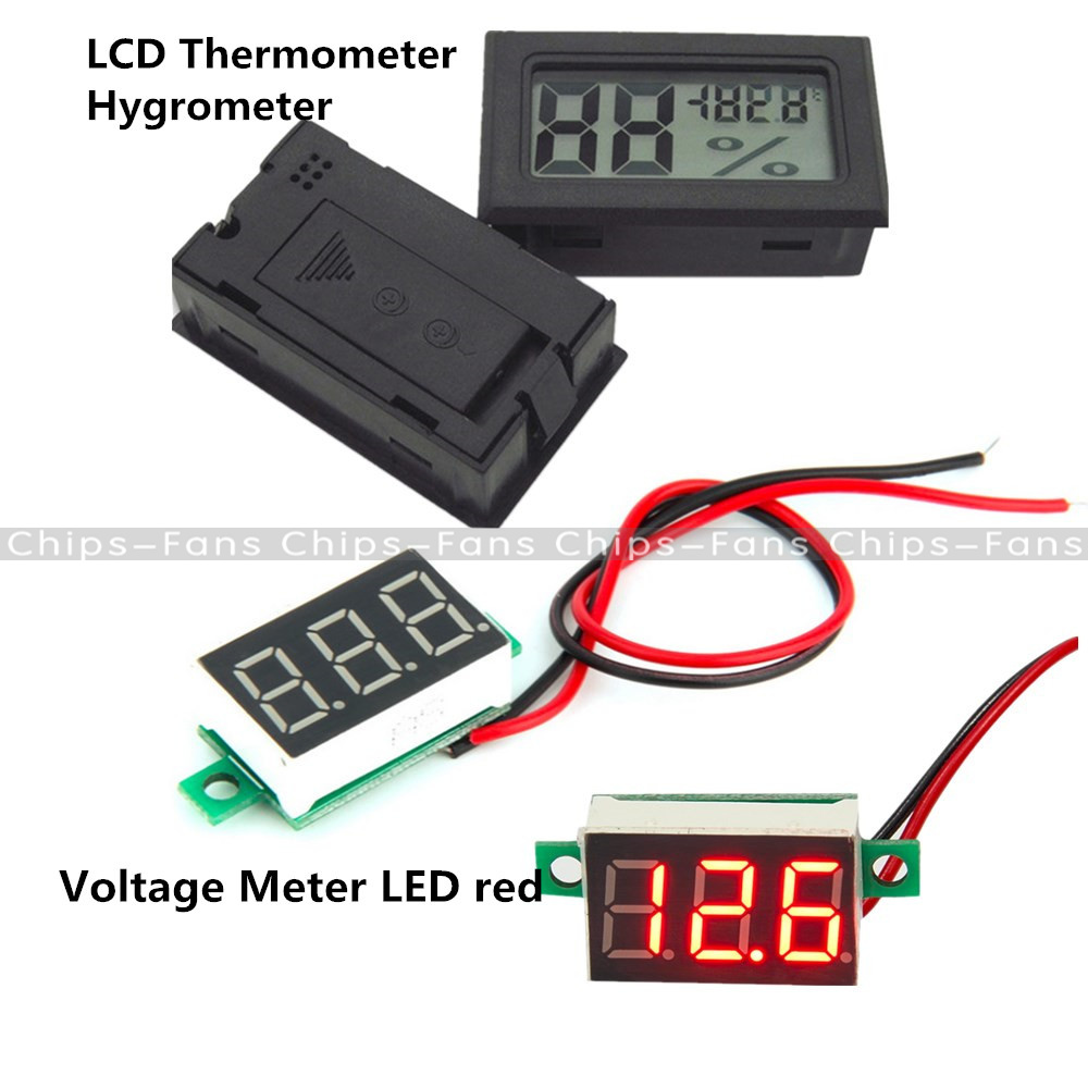 Led Voltage Red Meter Digital Lcd Temperature Humidity Thermometer For Measurement Hygrometer