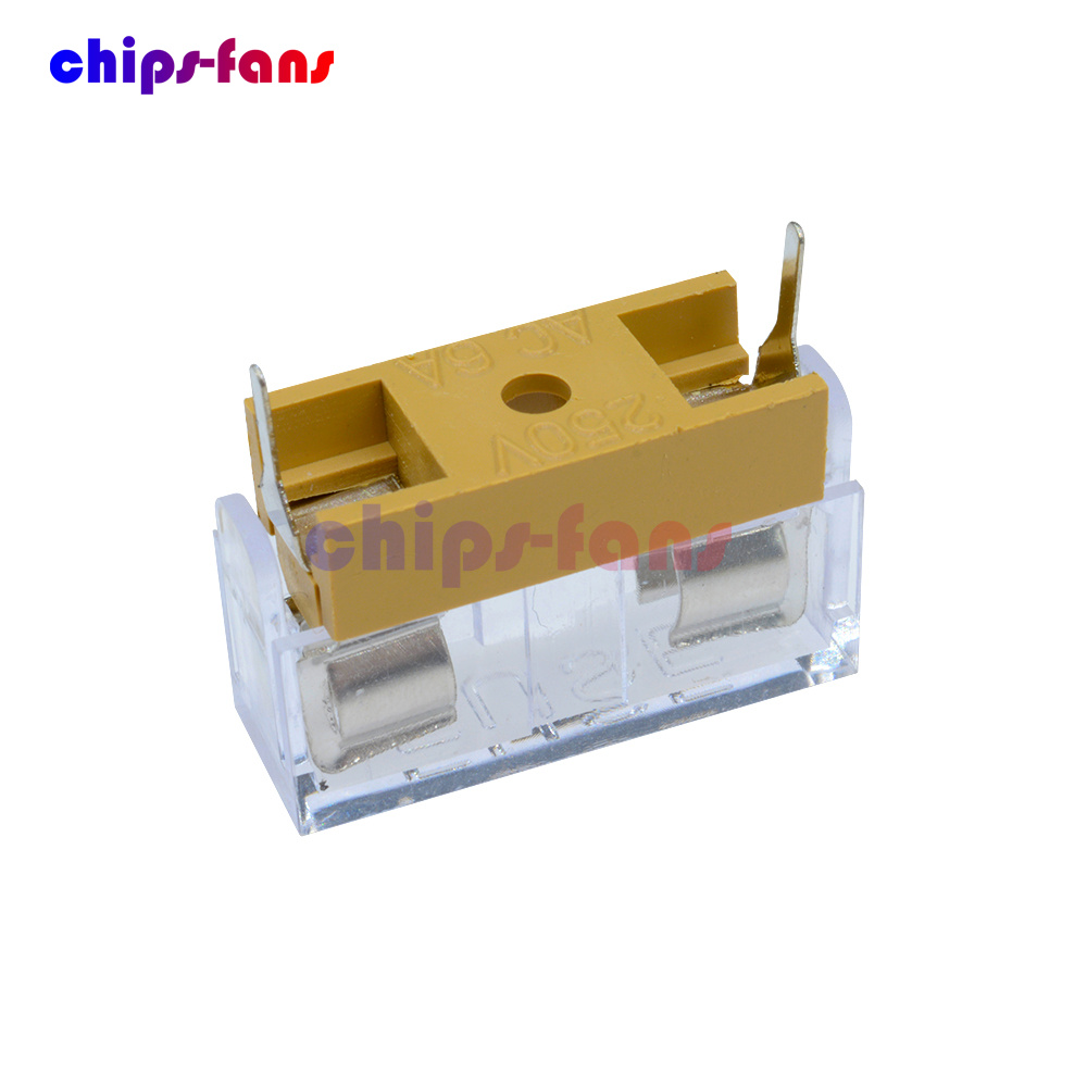 10Pcs//Set Panel Mount PCB Fuse Holder Case with Cover for 5x20mm 250V 6A