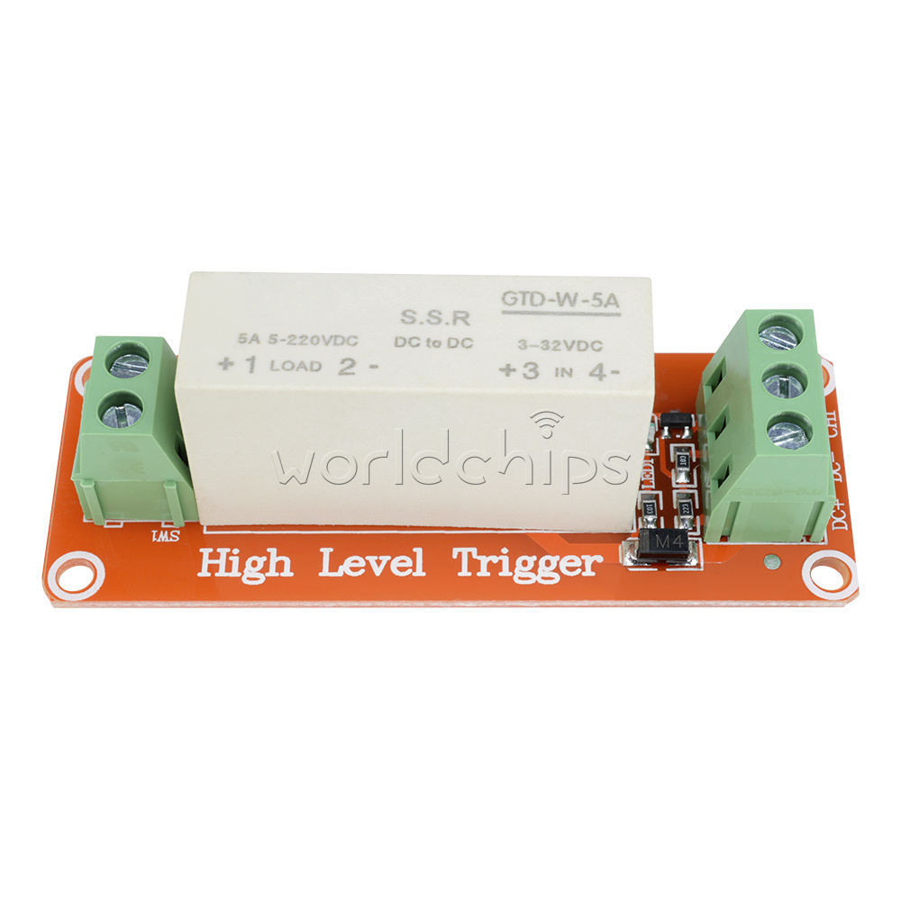 3 32v Dc 1 Channel Ssr Solid State Relay High Low Trigger 5a 5v 12v Board Module Level Fuse For Arduino