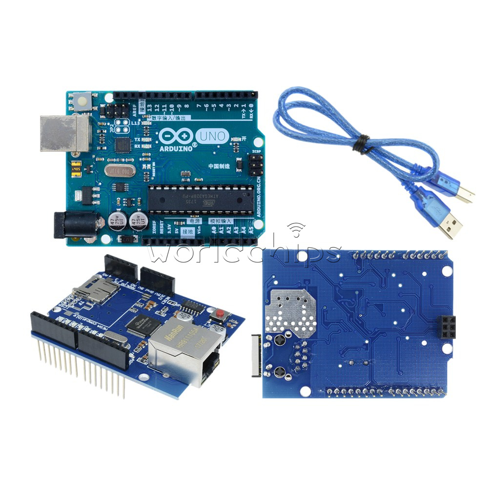 Details about Original Arduino UNO R3 ATmega328 MEGA328P Ethernet Shield  W5100 Board USB Cable