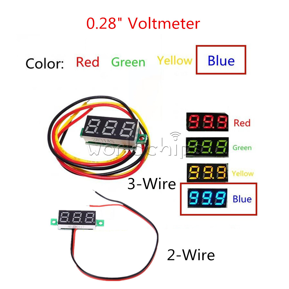028 Led Display Digital Voltmeter Gauge Voltage Detector Panel Meter Wiring Diagram 2 3 Wire