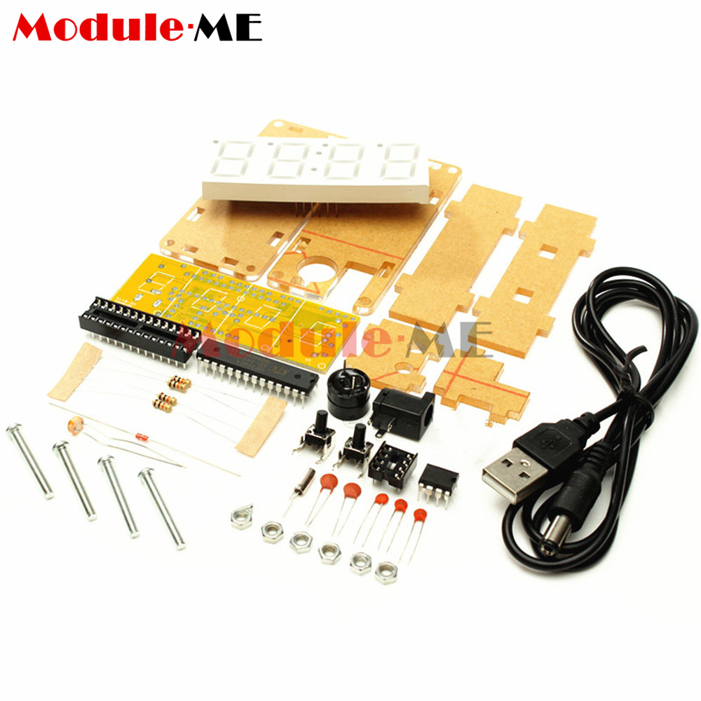 Diy Kit Led 08 Digital Electronic Clock Microcontroller Time Using Pic Thermometer Red M