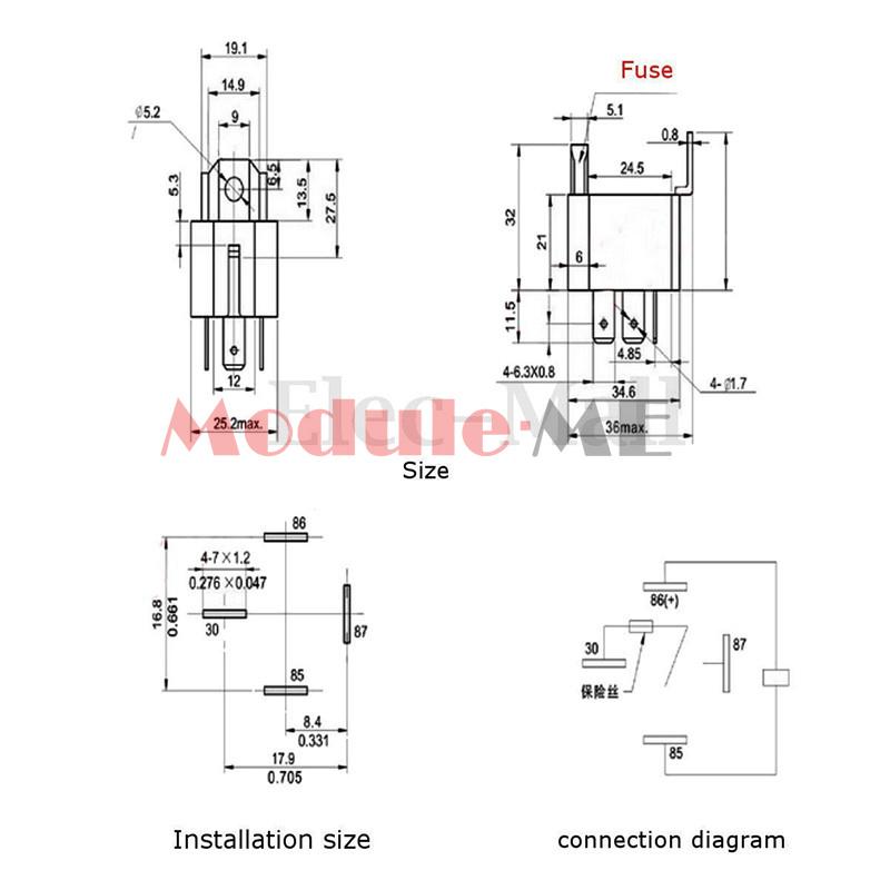 12v 30a 4 pin 4p metal heavy duty car motor automotive