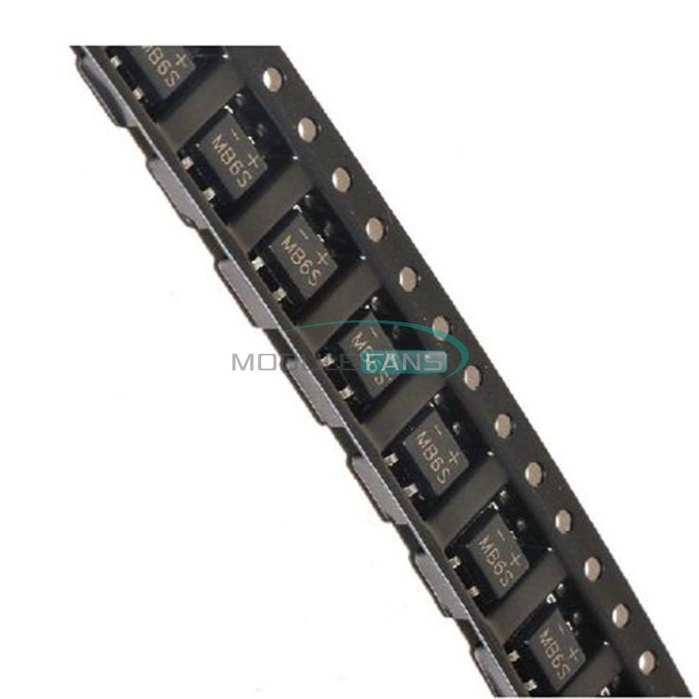 50Pcs MB6S Miniature Mini SMD 0.5A 600V Bridge Rectifier