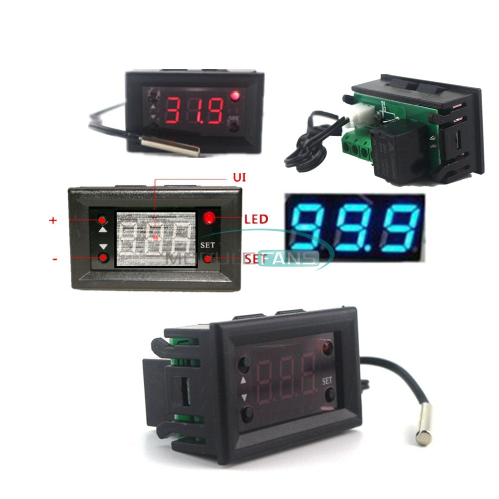 Red W1218 Thermostat 12V+3-Digit NTC Probe Controller Replace W1209WK