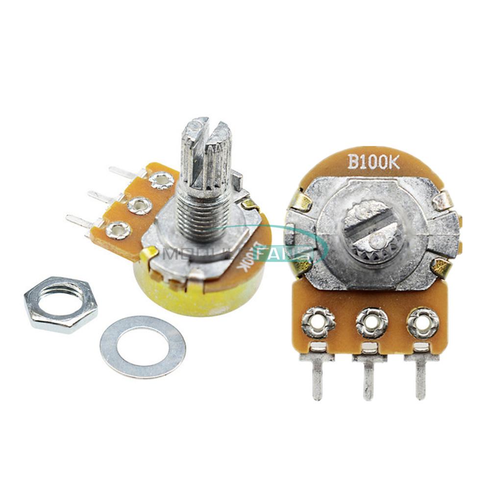 5 pcs 100K ohm Linear Taper Rotary Potentiometer Panel pot B100K 15mm