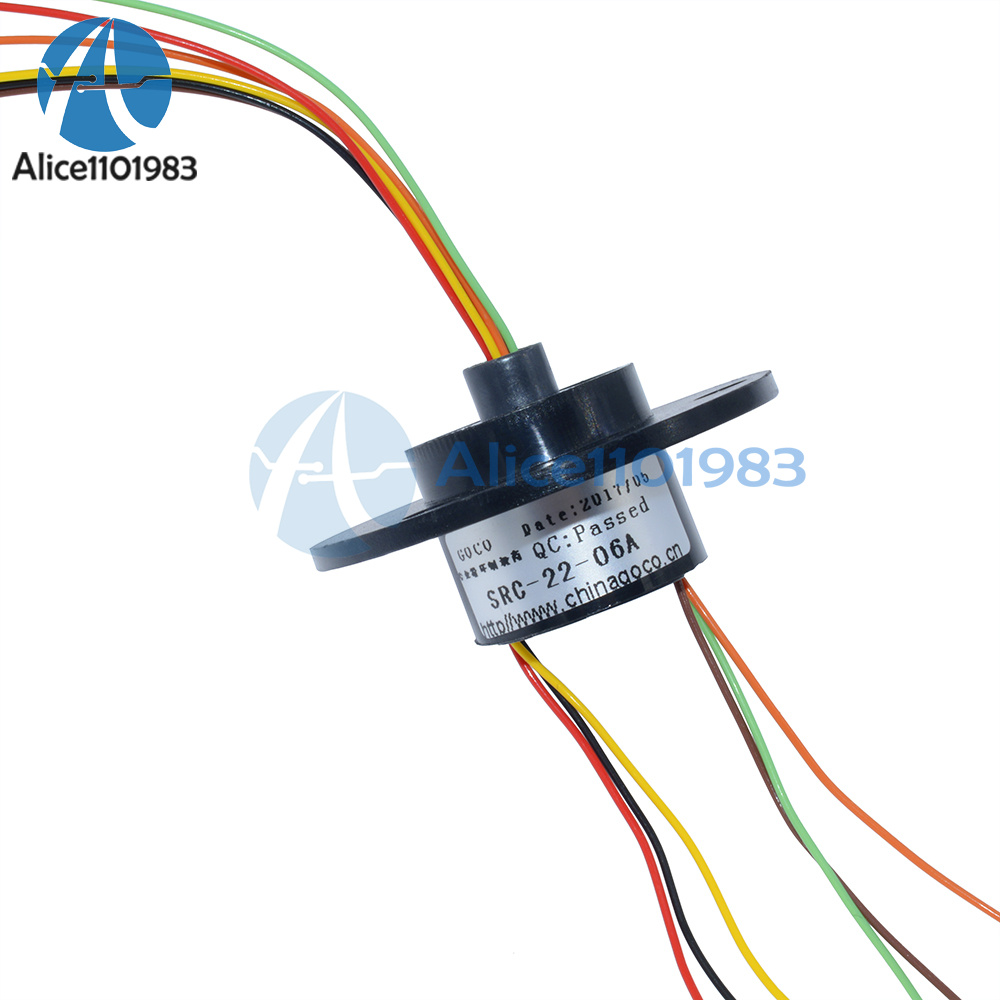 22mm 6 Wires 6 Conductors Capsule Compact Slip Ring 220V AC 250Rpm ...