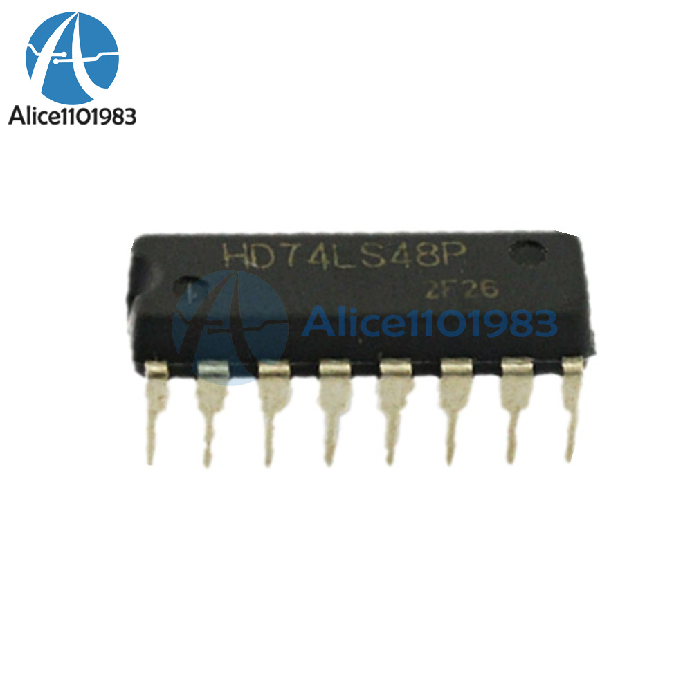 10PCS HD74LS48P 74LS48 DIP16 HITACHI BCD-to-Seven-Segment Decoder NEW Z82