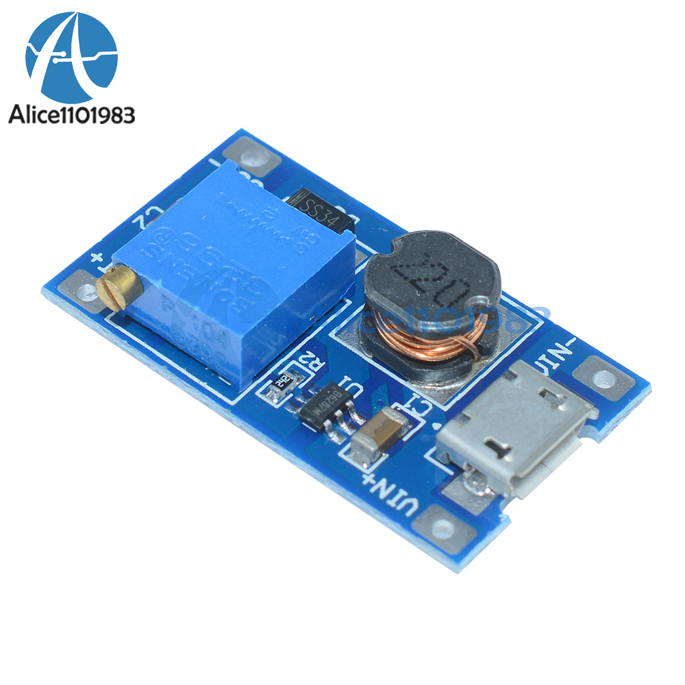 2pcs 2A Booster DC-DC Step-up 2//24V to 5//12//28V Micro USB MT3608 Replace XL6009