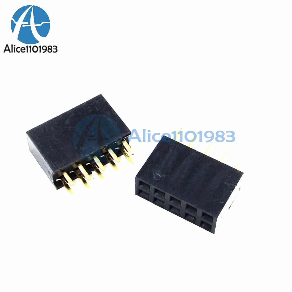 10pcs 2.54mm 2X5 10Pin Double Row Female Straight Header Pitch Socket Pin Strip