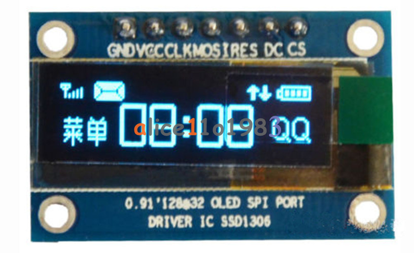 "0.91/"" IIC I2C Serial SPI OLED LCD Display Module 128x32 AVR PIC STM32 3.3V//5V"