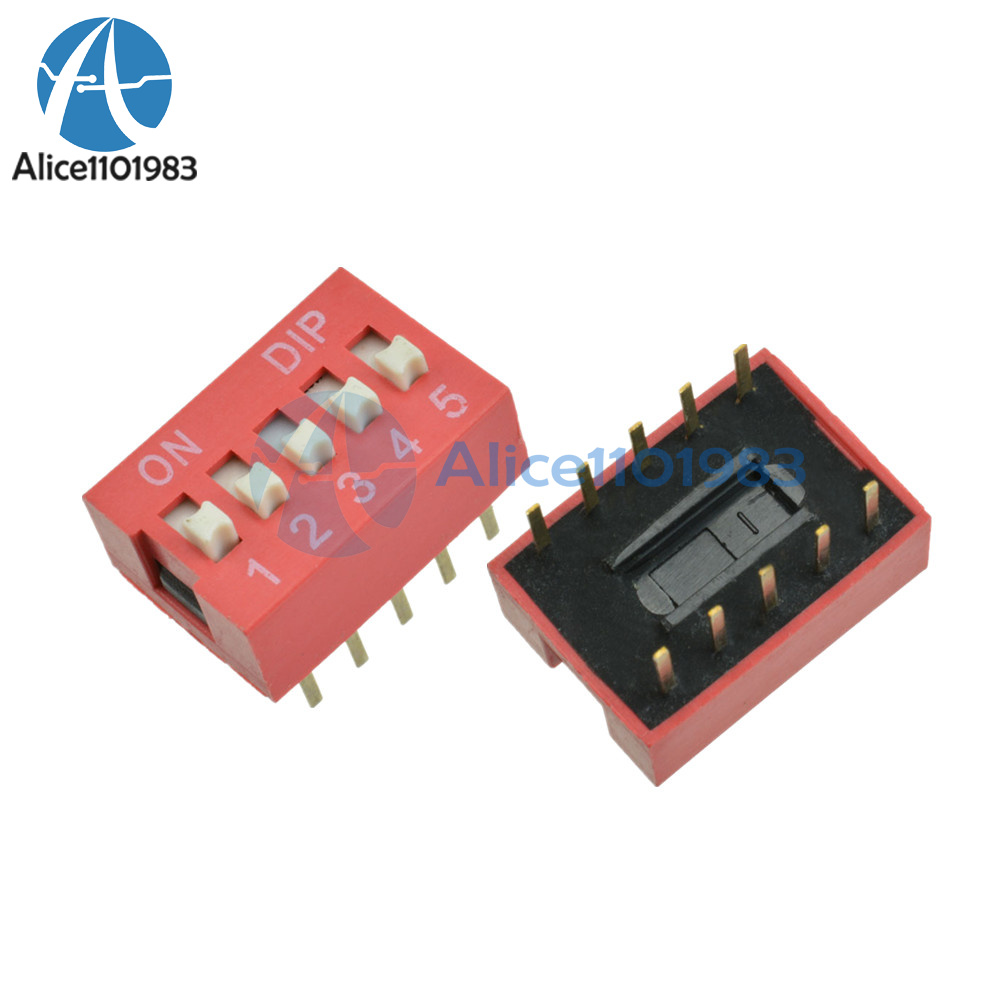 10pcs Red 2.54mm Pitch 5-Bit 5-Positions Way Slide Type DIP Switch Module NEW D