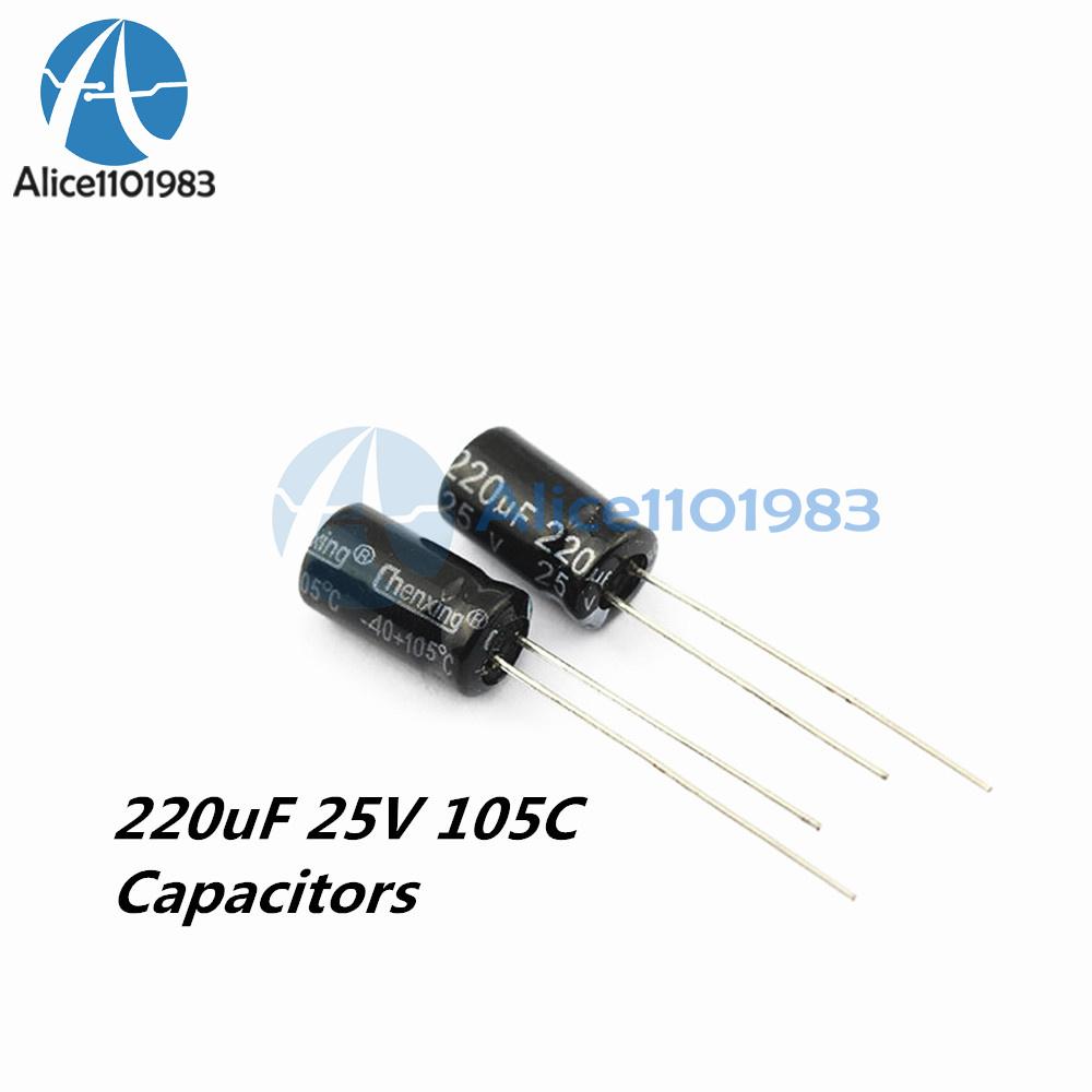 20 PCS 220uF 25V 6mm*12mm Radial Electrolytic Capacitors NEW
