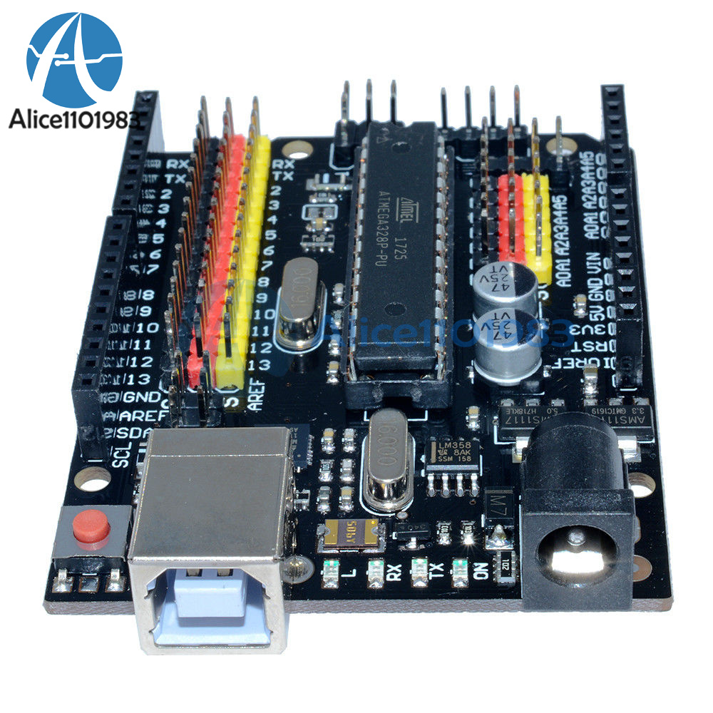 Arduino Compatible Uno R3 Plus Sensor I O Shield Atmega328p 16u2 Dip Usb Cable Programming Expansion Board