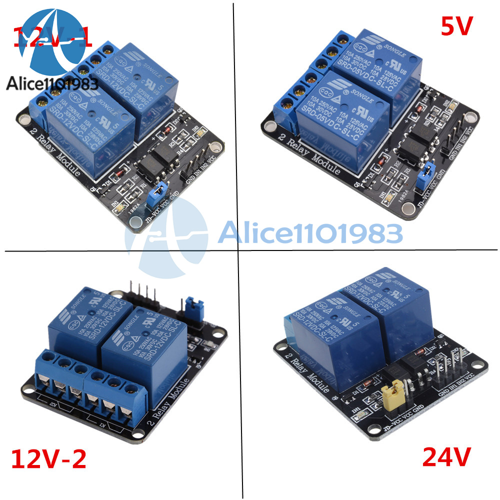 5v 12v 24v 2 Channel For Pic Avr Dsp Arm Arduino Relay Module With Optocoupler