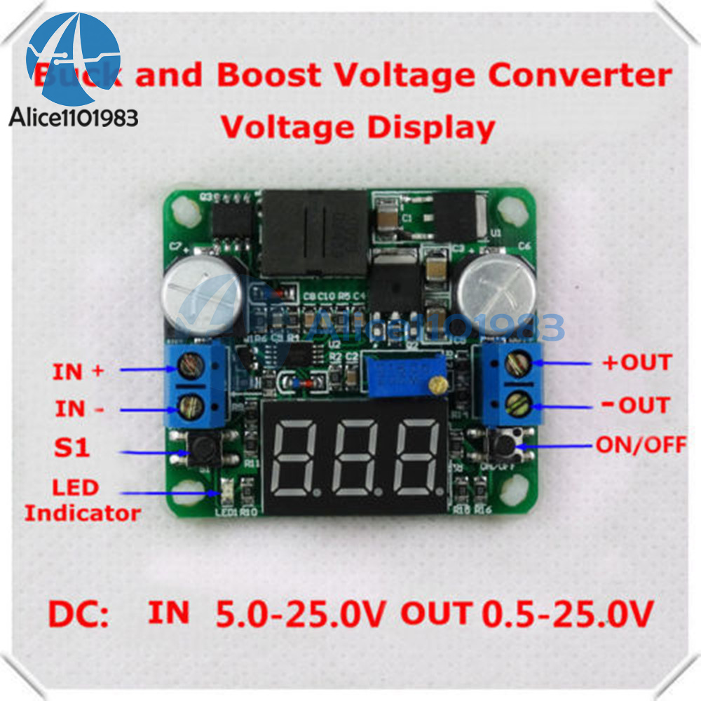 25w 2a Dc 5 25v 12v To 05v 24v Led Voltmeter Buck Boost Voltage Converter Circuit 2 Basiccircuit Integrated Meter Step Up And Down Power Supply Module Lm2577 Lm2596 In