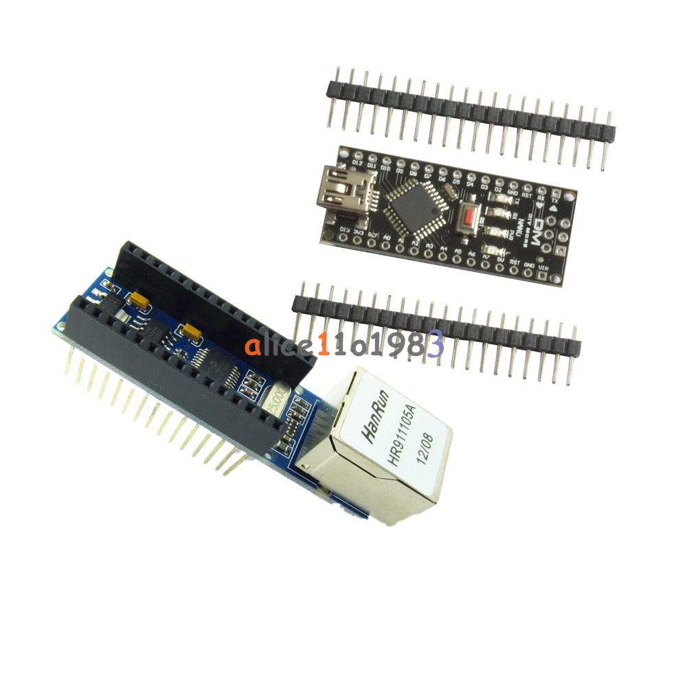 ENC28J60 Ethernet Shield Module+Arduino USB Nano V3.0 Atmega328P 5V 16M Board
