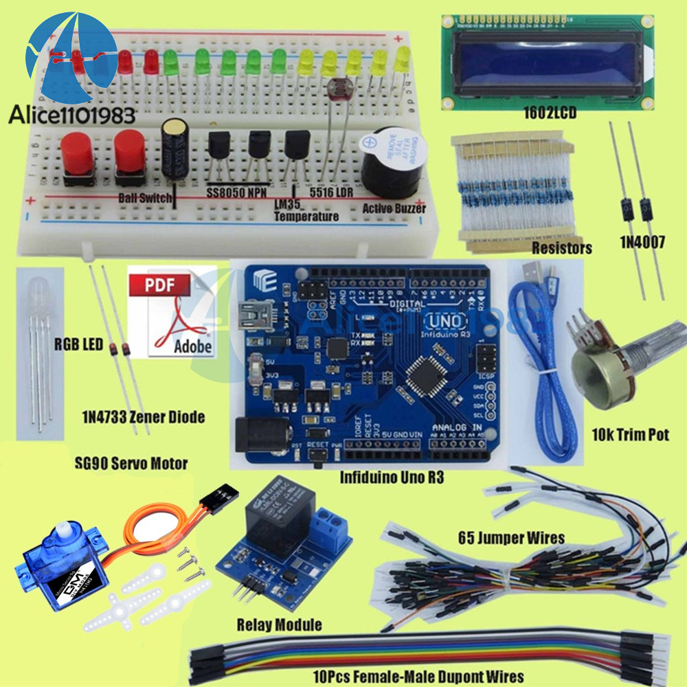 Small Basic Starter Kit For Arudino Uno R3 Mega2560 1602lcd Servo Electronic Circuit Componnent Data Lesson And Etc Zener Diode Categories